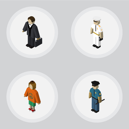 Isometric Person Set Of Seaman, Lady, Investor And Other Vector Objects. Also Includes Woman, Mariner, Hippie Elements.