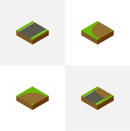 아이소 메트릭 웨이 선반, 미완성, 모래 벡터 객체의 설정. 또한 회전, 모래, 미완성 요소가 포함됩니다. 스톡 콘텐츠 - 81580596
