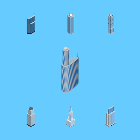 Isometric Construction Set Of Skyscraper, Cityscape, Tower And Other Vector Objects. Also Includes Residential, Exterior, Apartment Elements.