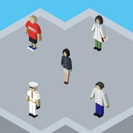 Isometric Person Set Of Guy, Male, Girl And Other Vector Objects. Also Includes Boy, Nurse, Seaman Elements. Illustration
