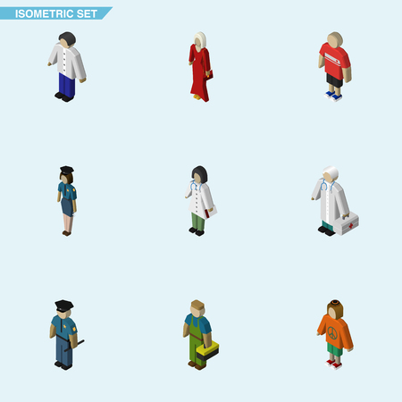 Isometric Person Set Of Female, Guy, Officer And Other Vector Objects. Also Includes Doctor, Female, Policewoman Elements. Illustration