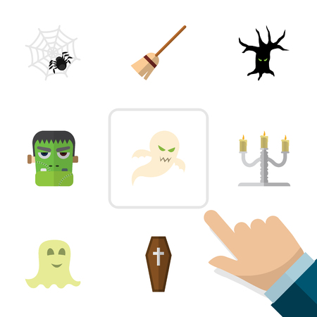 Flat Icon Festival Set Of Broom, Spinner, Ghost And Other Vector Objects. Also Includes Cobweb, Specter, Spirit Elements.