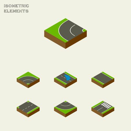 等尺性道路 Plash、アスファルト、道路その他のベクトル オブジェクトのセットです。Plash、道路、フッター要素も含まれます。