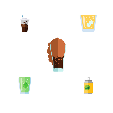 lata de refresco: Flat Icon Beverage Set Of Carbonated, Cup, Beverage And Other Vector Objects. Also Includes Fizzy, Soda, Lemonade Elements.