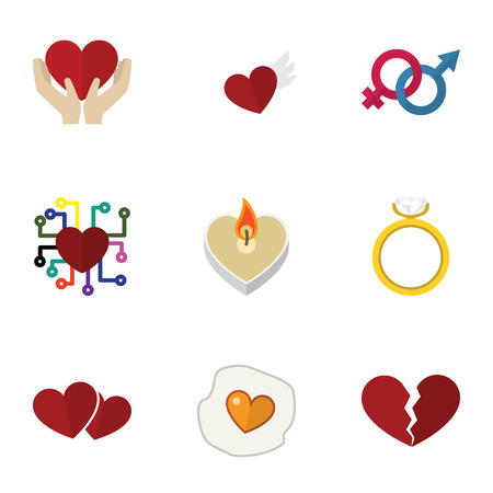 Flat Icon Heart Set Of Wings, Scrambled, Engagement And Other Vector Objects. Also Includes Sign, Engagement, Soul Elements.