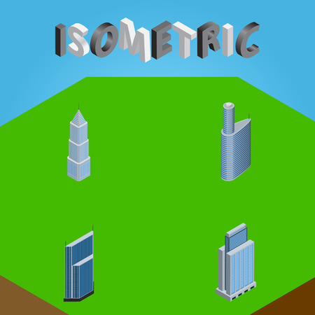 Isometric Building Set Of Urban, Building, Residential And Other Vector Objects. Also Includes Urban, Building, Exterior Elements.