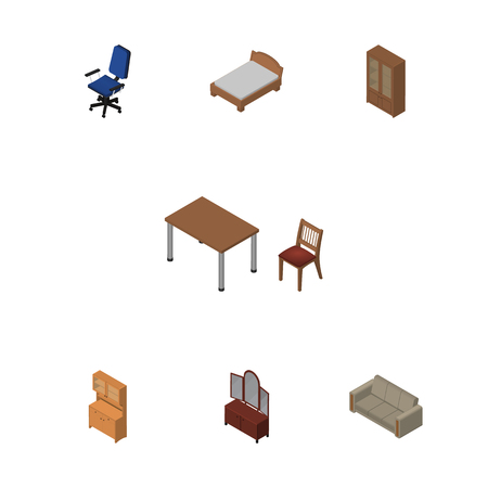 Isometric Design Set Of Cupboard, Cabinet, Bedstead And Other Vector Objects. Also Includes Sofa, Table, Sideboard Elements. Illustration