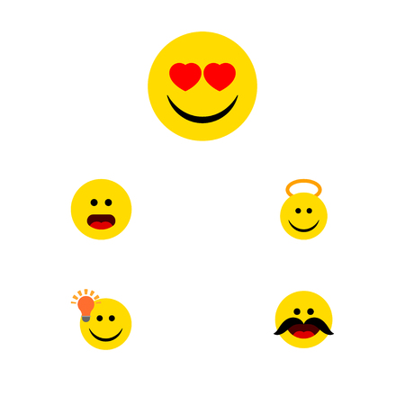 perplexity: Flat Icon Emoji Set Of Cheerful, Love, Angel And Other Vector Objects. Also Includes Emoji, Cheerful, Heart Elements.