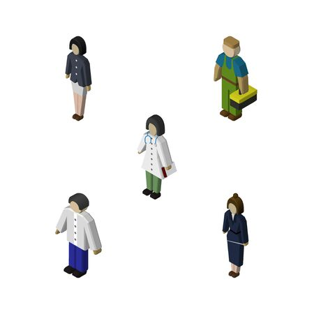 Isometric Human Set Of Girl, Businesswoman, Doctor And Other Vector Objects. Also Includes Worker, Girl, Male Elements.