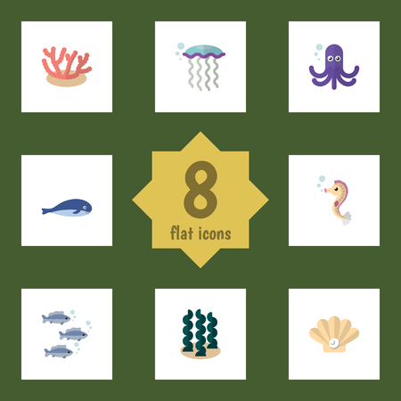 Flat Icon Sea Set Of Alga, Tuna, Conch And Other Vector Objects. Also Includes Hippocampus, Squid, Whale Elements. Illustration