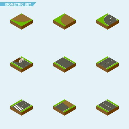 repairs: Isometric Road Set Of Way, Turn, Without Strip And Other Vector Objects. Also Includes Construction, Turning, Road Elements.