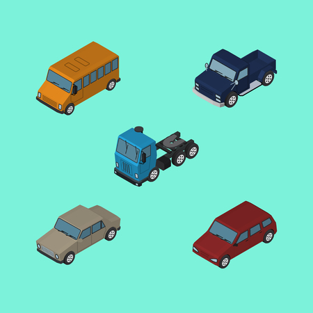 Isometric Transport Set Of Suv, Autobus, Car And Other Vector Objects. Also Includes Car, Sedan, Suv Elements.