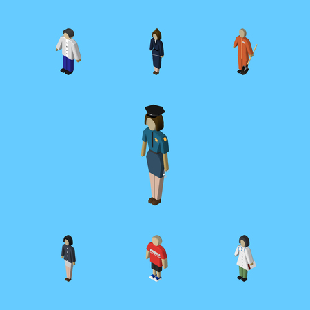 mujer policia: Isometric People Set Of Girl, Guy, Businesswoman And Other Vector Objects. Also Includes Nurse, Businesswoman, Builder Elements.