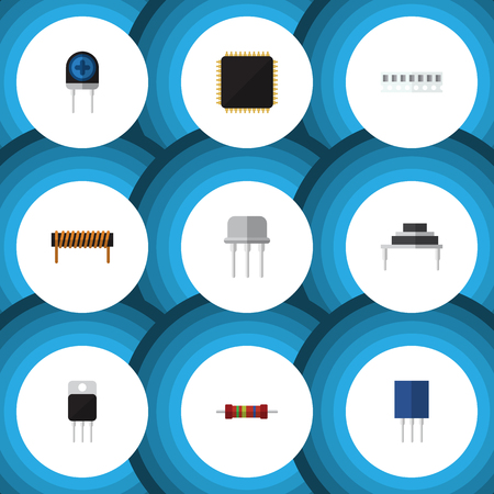 Flat Icon Electronics Set Of Cpu, Receptacle, Transducer And Other Vector Objects. Also Includes Bobbin, Resistor, Set Elements.