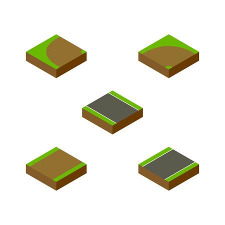 아이소 메트릭 웨이 터 닝, 모래, 보도 벡터 객체의 설정. 또한 선회, 도로, 회전 요소가 포함됩니다. 일러스트