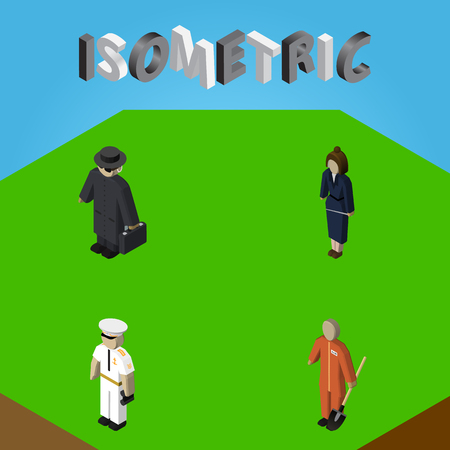 Isometric Person Set Of Cleaner, Detective, Businesswoman And Other Vector Objects. Also Includes Mariner, Laborer, Worker Elements. Illustration