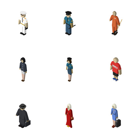 Isometric Person Set Of Seaman, Hostess, Detective And Other Vector Objects. Also Includes Sailor, Mariner, Police Elements.