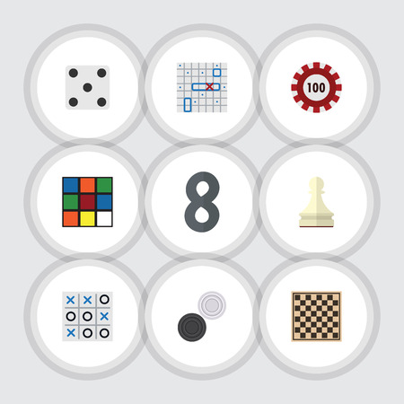 Flat Icon Games Set Of Sea Fight, Chess Table, Backgammon And Other Vector Objects. Also Includes Square, Table, Play Elements.