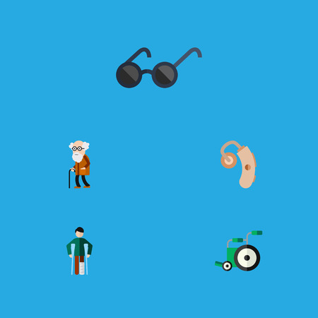 Flat Icon Handicapped Set Of Injured, Ancestor, Equipment And Other Vector Objects. Also Includes Equipment, Audiology, Sunglasses Elements. Illustration