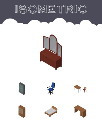 arredamento classico: Isometric Furnishing Set Of Drawer, Sideboard, Table And Other Vector Objects. Also Includes Drawer, Cabinet, Desk Elements.
