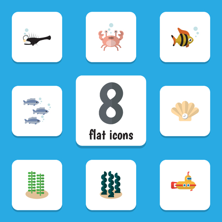 Flat Icon Nature Set Of Seafood, Cancer, Alga And Other Vector Objects. Also Includes Pearl, Underwater, Conch Elements. Illustration