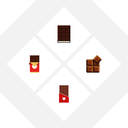 calorie: Flat Icon Bitter Set Of Cocoa, Dessert, Chocolate And Other Vector Objects. Also Includes Bitter, Wrapper, Cocoa Elements.