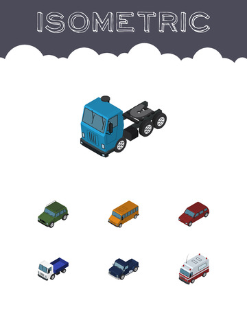 Isometric Car Set Of Truck, Autobus, Suv And Other Vector Objects. Also Includes Bus, Motor, Drive Elements. Illustration
