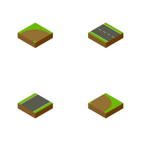 Isometric Way Set Of Rotation, Single-Lane, Sand Vector Objects. Also Includes Turn, Lane, Unilateral Elements.