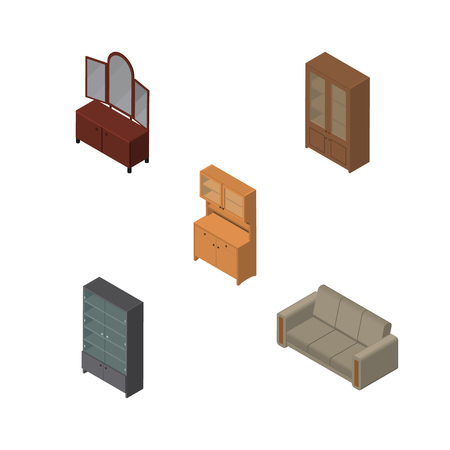 arredamento classico: Isometric Furnishing Set Of Couch, Cabinet, Drawer And Other Vector Objects. Also Includes Couch, Closet, Sideboard Elements.