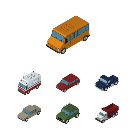 Isometric Transport Set Of First-Aid, Suv, Auto And Other Vector Objects. Also Includes Car, Auto, Freight Elements.