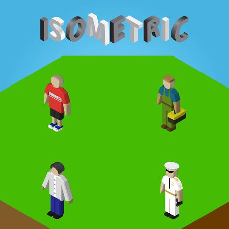 Isometric Human Set Of Seaman, Guy, Plumber And Other Vector Objects. Also Includes Sailor, Male, Worker Elements. Illustration
