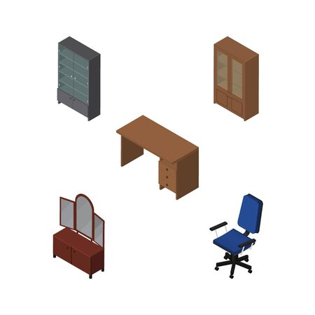 Isometric Furnishing Set Of Drawer, Office, Table And Other Vector Objects. Also Includes Drawer, Desk, Office Elements.