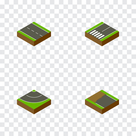Isometric Way Set Of Footpassenger, Incomplete, Single-Lane And Other Vector Objects. Also Includes Unfinished, Footpassenger, Road Elements.