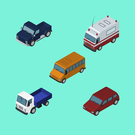 Isometric Transport Set Of First-Aid, Car, Autobus And Other Vector Objects. Also Includes Car, Bus, Truck Elements.
