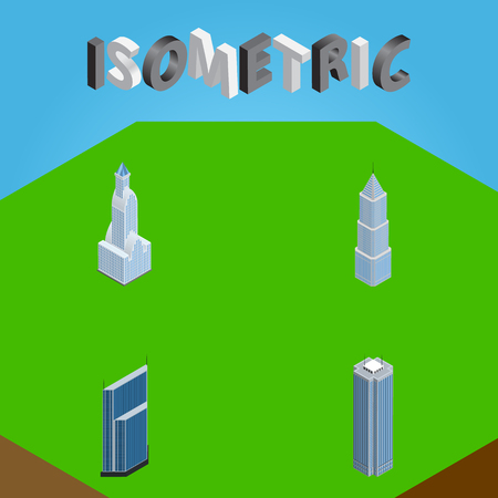 Isometric Skyscraper Set Of Skyscraper, Residential, Cityscape And Other Vector Objects. Also Includes Tower, Exterior, Center Elements.