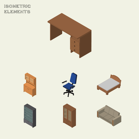Isometric Furnishing Set Of Sideboard, Bedstead, Cabinet And Other Vector Objects. Also Includes Furniture, Drawer, Sideboard Elements.