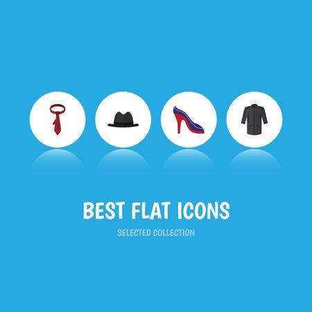 Flache Ikonen-Kleidung eingestellt von der Uniform, von Panama, von Krawatte und von anderen Vektorgegenständen. Enthält auch Uniform, Kimono und Panama-Elemente.