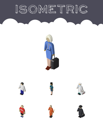 Isometric Person Set Of Cleaner, Hostess, Male And Other Vector Objects. Also Includes Guy, Police, Doctor Elements.