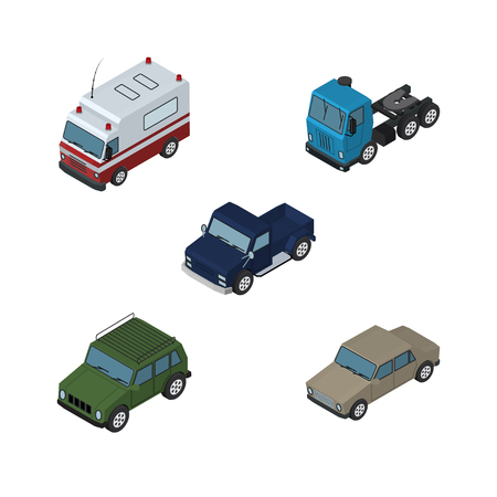 Isometric Car Set Of Auto, Truck, Armored And Other Vector Objects. Also Includes Motor, Car, Sedan Elements.