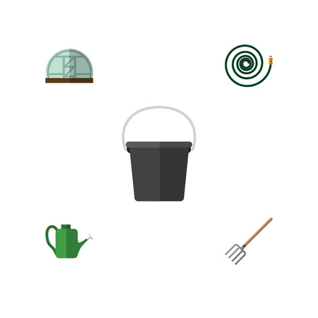 moisture: Flat Icon Dacha Set Of Pail, Hosepipe, Bailer And Other Vector Objects. Also Includes Can Bailer, Tool, Pail Elements. Illustration