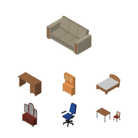 sideboard: Isometric Furnishing Set Of Chair, Cupboard, Table And Other Vector Objects. Also Includes Chair, Sofa, Armchair Elements. Illustration