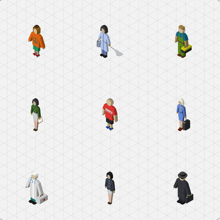 Isometric People Set Of Housemaid, Hostess, Lady And Other Vector Objects. Also Includes Technician, Girl, Hippie Elements.