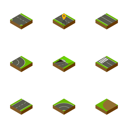 Isometric Road Set Of Driveway, Flat, Turning And Other Vector Objects. Also Includes Pedestrian, Underground, Turning Elements.