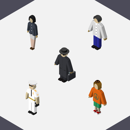 Isometric Human Set Of Girl, Lady, Detective And Other Vector Objects. Also Includes Seaman, Police, Woman Elements.  イラスト・ベクター素材