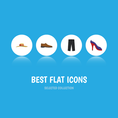 Flat Icon Clothes Set Of Heeled Shoe, Male Footware, Elegant Headgear And Other Vector Objects. Also Includes Heeled, Shoe, Shoes Elements. Illustration