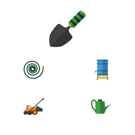 Flat Icon Dacha Set Of Lawn Mower, Bailer, Hosepipe And Other Vector Objects. Also Includes Hose, Garden, Can Bailer Elements.