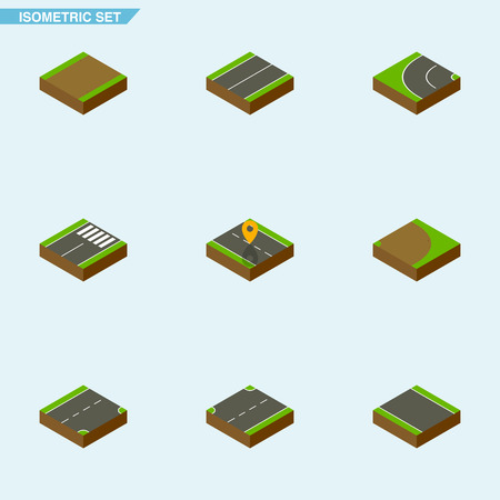Isometric Road Set Of Rotation, Upwards, Without Strip And Other Vector Objects. Also Includes Plane, Strip, Highway Elements.