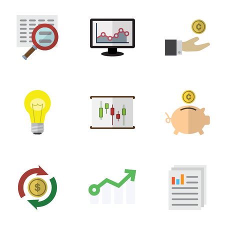 Flat Icon Incoming Set Of Document, Interchange, Money Box And Other Vector Objects. Also Includes Arrow, Interchange, Graph Elements.