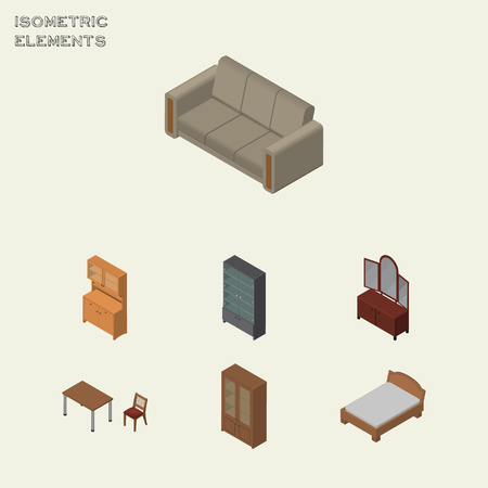 settee: Isometric Furniture Set Of Couch, Sideboard, Chair And Other Vector Objects. Also Includes Locker, Bedstead, Sideboard Elements.
