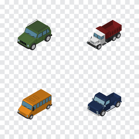 Isometric Transport Set Of Armored, Autobus, Freight And Other Vector Objects. Also Includes Armored, Car, Truck Elements.